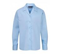Blue Rever Collar Blouse - Long Sleeves